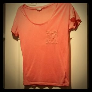 Energie Size L Pink Short Sleeve Tee